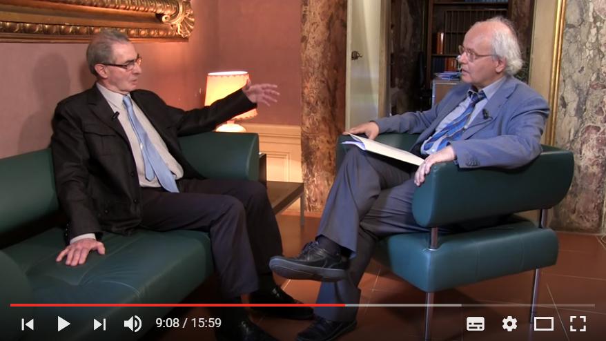 Un momento dell'intervista, a sinistra il prof. Modzelewski e a destra il prof. Vannini.
